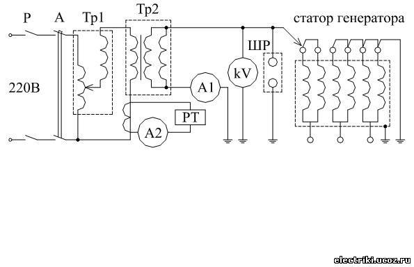 Схема испытания генератора